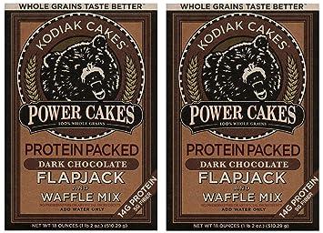 Kodiak Cakes Power Cakes, Dark Chocolate Flapjack and Waffle Mix, 18 Ounce  (2 Pack)