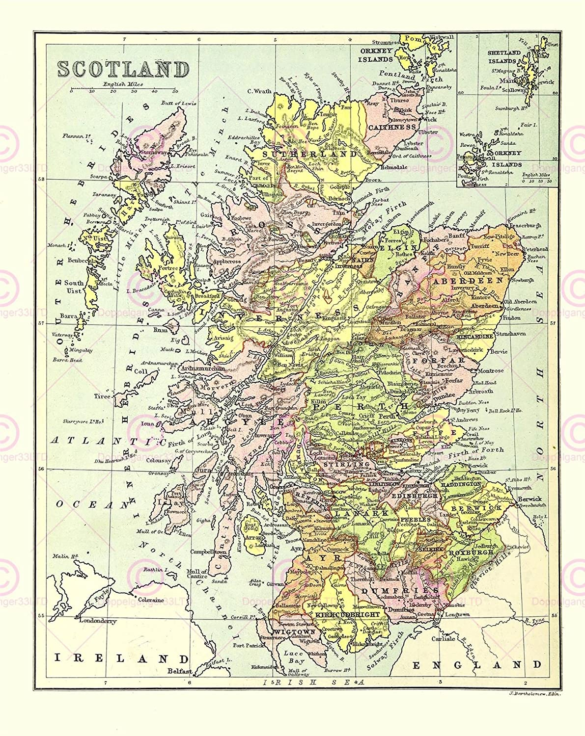 picture relating to Printable Map of Scotland known as MAP BARTHOLEMEW SCOTLAND COUNTIES Major Artwork PRINT LF879