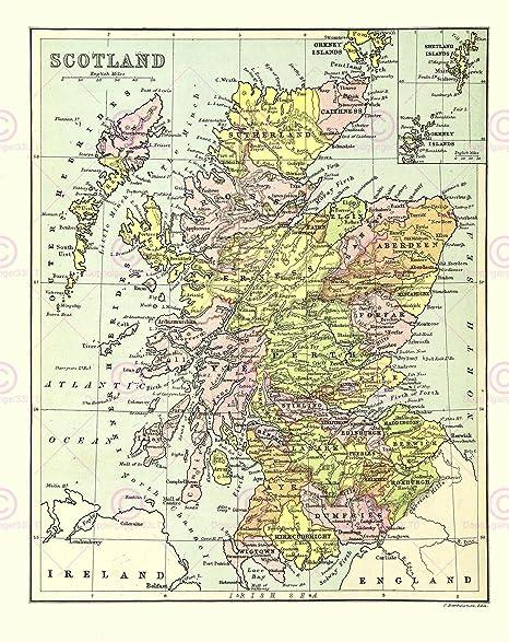 Printable Map Of Uk Counties.Map Bartholemew Scotland Counties Large Art Print Lf879