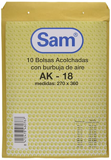 Amazon.com : PACK 10 BOLSA KRAFT ACOLCHADA AK-18 AUTOAD ...