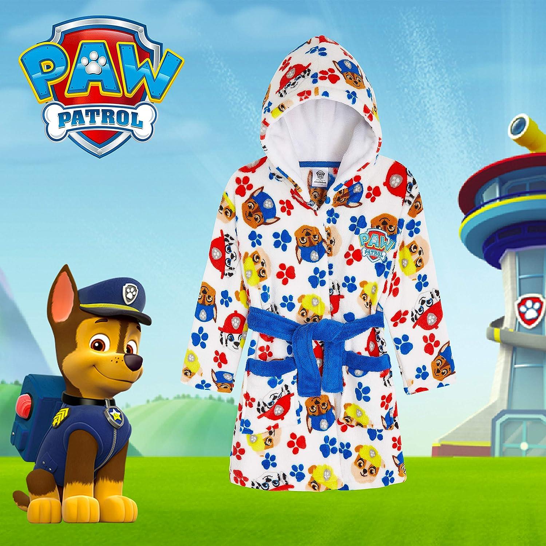 Peignoir de chambre Paw Patrouille avec des chiots puissants Chase Rubble Marshall cadeau pour gar/çons ou filles en polaire douce avec capuche produit officiel Nickelodeon