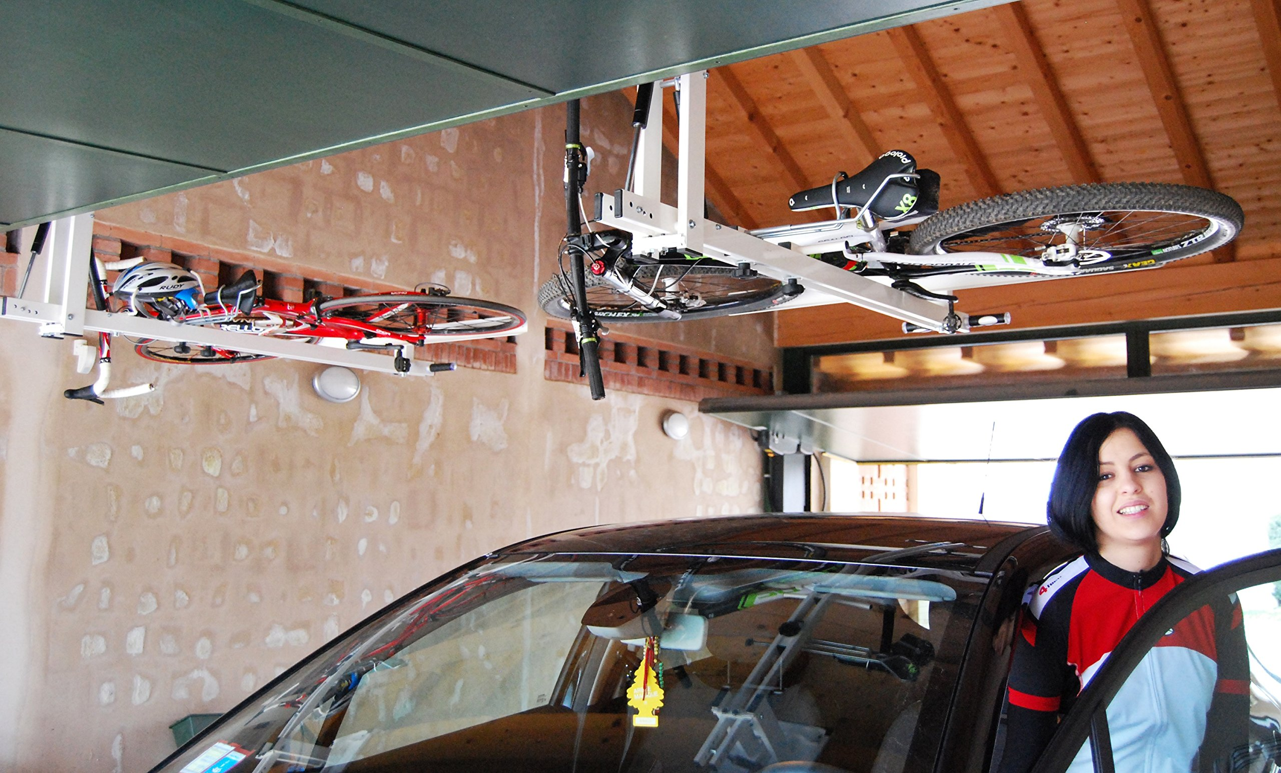 flat-bike-lift - The new overhead rack to store the bikes flat to the garage ceiling