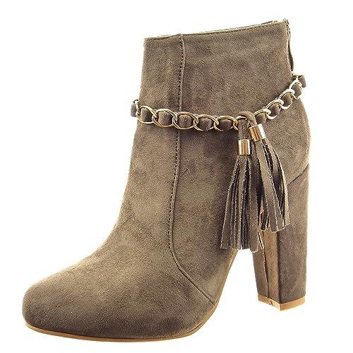 Sopily - Zapatillas de Moda Botines Tobillo Mujer Cadena Talón Tacón Ancho Alto 10 CM - Taupe CAT-3-PN1516 T 41: Amazon.es: Zapatos y complementos