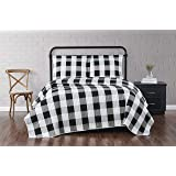 Truly Soft Everyday Buffalo Plaid Black Full/Queen Quilt Set