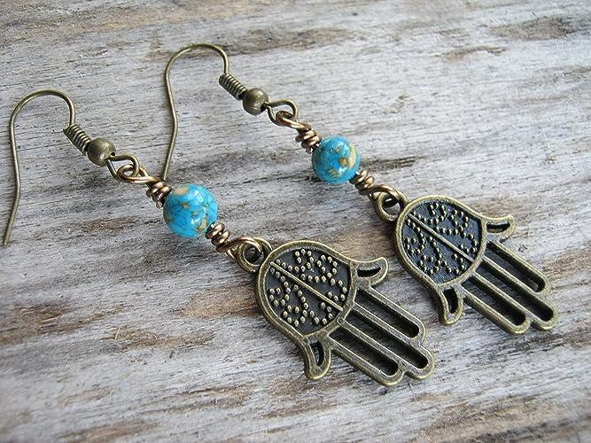 7a0dcc2fa Amazon.com: Turquoise Hamsa Earrings, Buddhist Earrings, Composite  Turquoise Jewelry, Antiqued BRONZE and blue Boho Yoga Earrings: Handmade