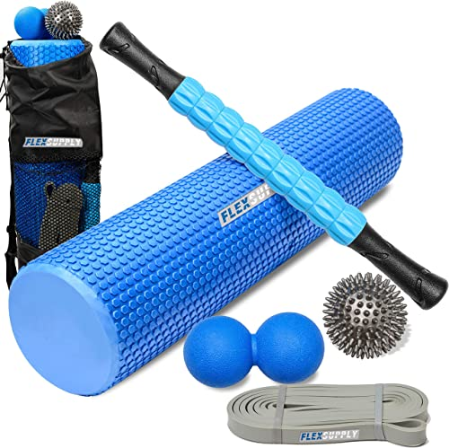 FlexSupply Roller Set, 24 Foam Roller, 17 Massage Roller, Spiky Massage Ball, Solid Ball and Durable Elastic Resistance Band