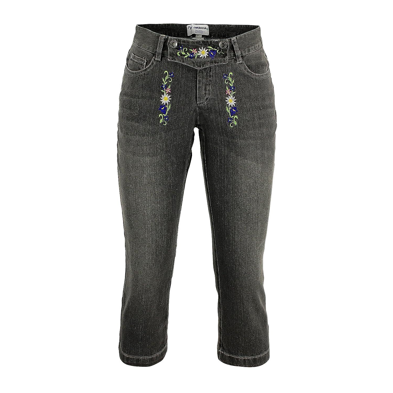 Oktoberfest Trachten Jeans Trachtenhosen Trachtenjeans Damen Hosen Caprijeans Lederhosen Optik Grau Freizeithosen stone-washed Baumwolle