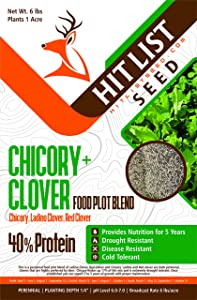 Chicory/Clover Perennial Deer Food Plot Blend (Chicory, Ladino Clover, Red Clover) (1/2 Acre (3 lbs))