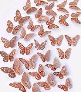 36PCS 3D Butterfly Wall Decor Rose Gold Butterflies Wall Stickers 3 Sizes & 3 Hollow-Carved Design Removable Butterfly Wall Decals DIY Decorations for Bedroom Living Room Home Party (Rose Gold)