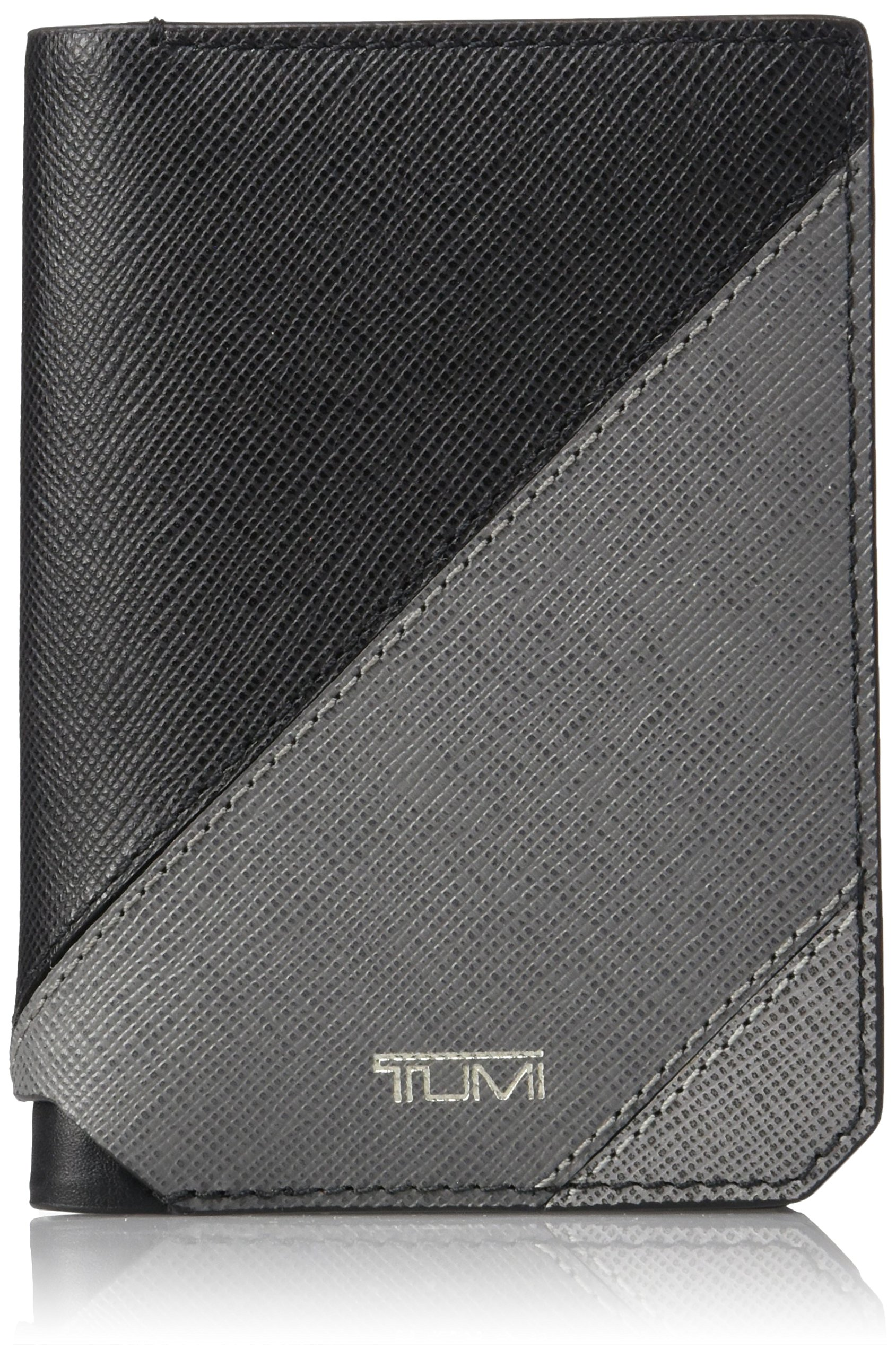 Tumi Men's Mason Gusseted Card Holder Wallet With RFID Blocking, Grey Pieced Leather, One Size