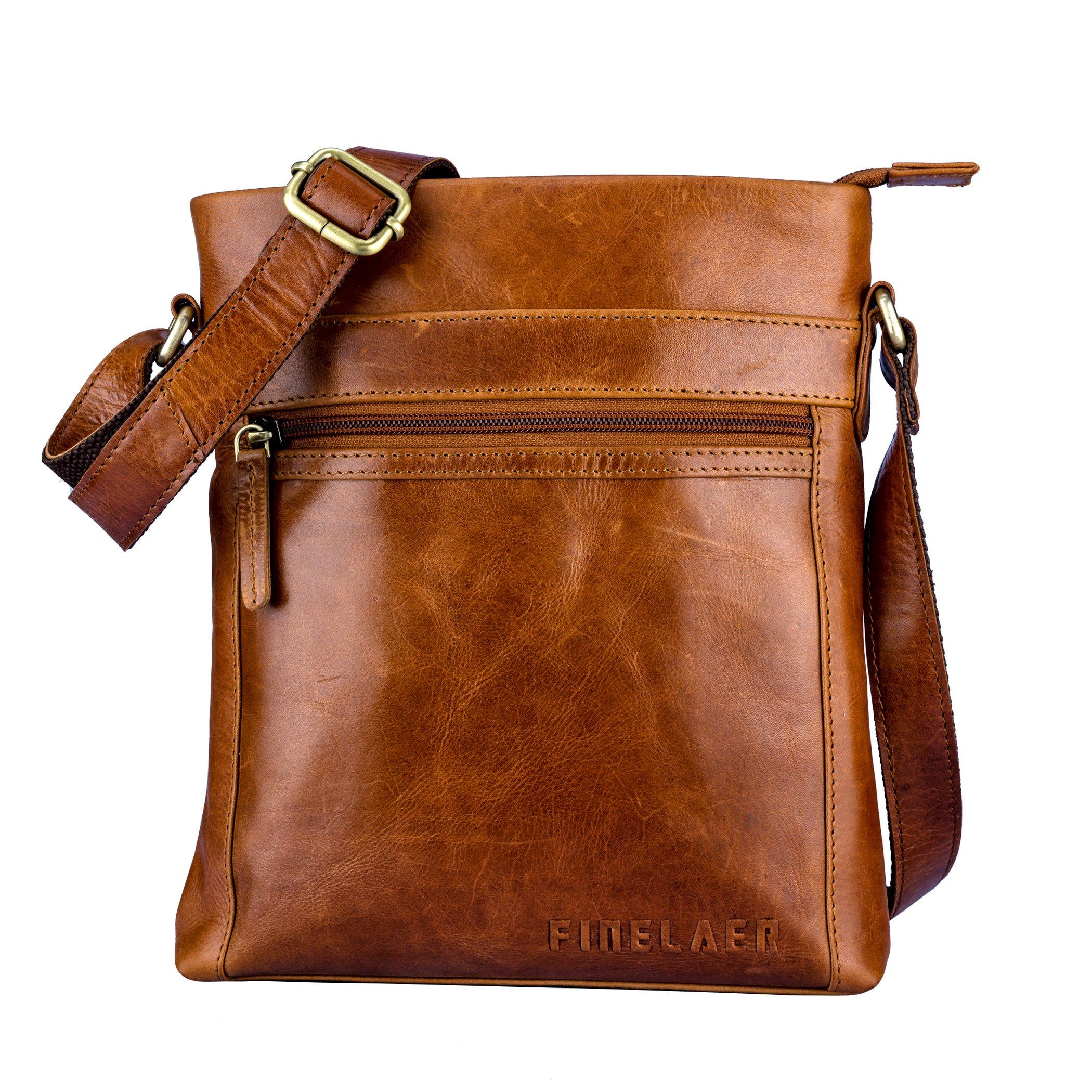 Finelaer Women Brown Leather Crossbody Shoulder Bag