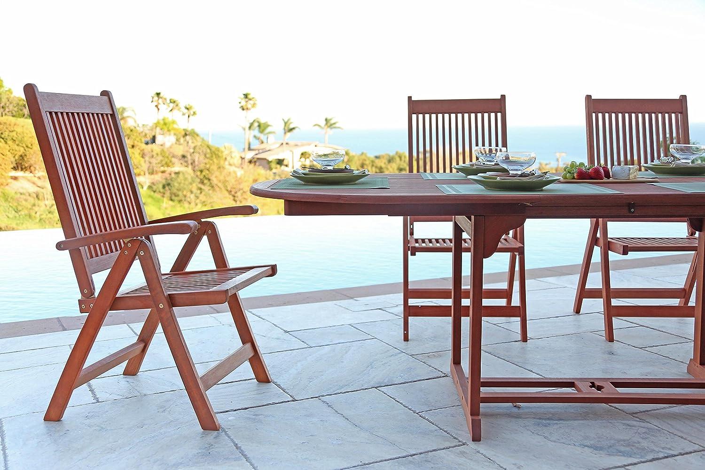 Amazon.com : VIFAH V144SET1 Outdoor Wood 7-Piece Dining Set with ...