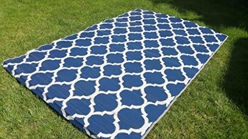Santa Barbara Collection 100 Recycled Plastic Outdoor Reversable Area Rug Rugs White Navy Blue Trellis san1001Blue 5'11 x 9'3