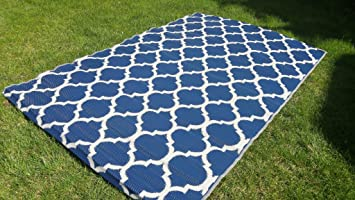 Santa Barbara Collection 100% Recycled Plastic Outdoor Reversable Area Rug  Rugs White Navy Blue Trellis