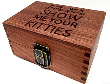 Show Me Your Kitties Wood Box Engraved With Metal Latch Stash Rolling Papers Wooden Decorative Boxes
