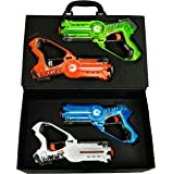 Dynasty Toys Laser Tag Set and Carrying Case for Kids Multiplayer 4 Pack