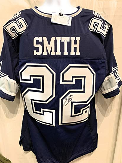 watch 26cba 44143 Emmitt Smith Dallas Cowboys Signed Autograph Blue Custom Jersey PROVA Tag  Certified