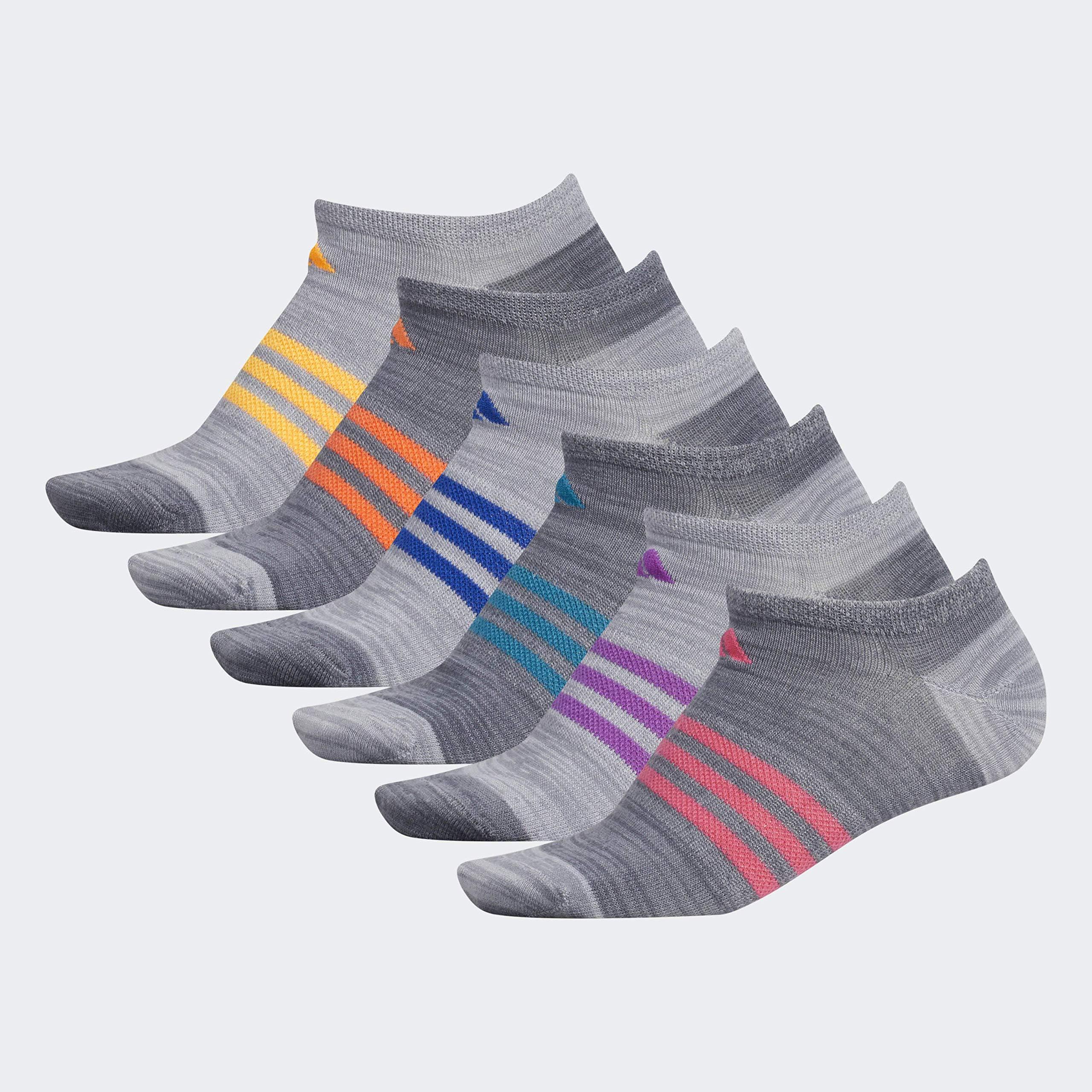 adidas Women's Superlite No Show Socks (6-Pair), Grey - Onix Space Dye/Clear Onix - Grey Space Dye/Real, Medium, (Shoe Size 5-10) by adidas