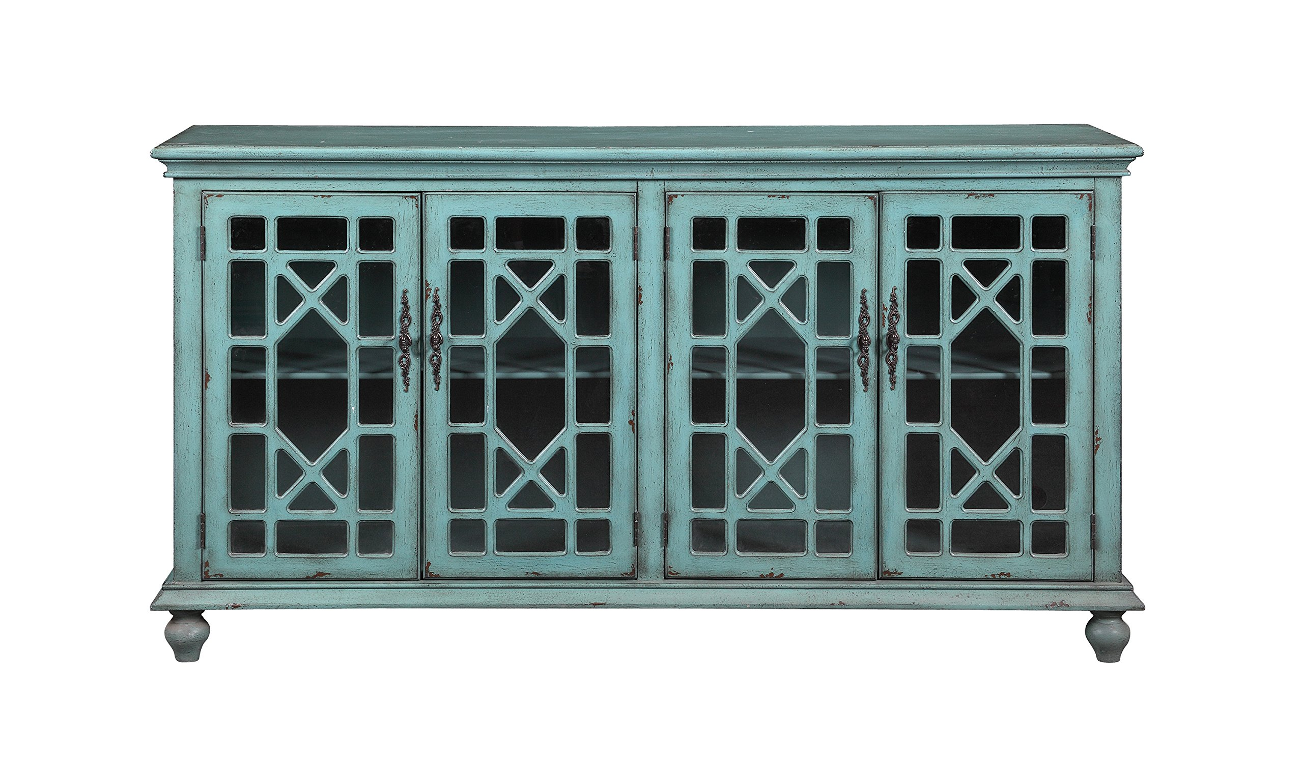 Bayberry Blue Rub-Through Four Door Media Credenza