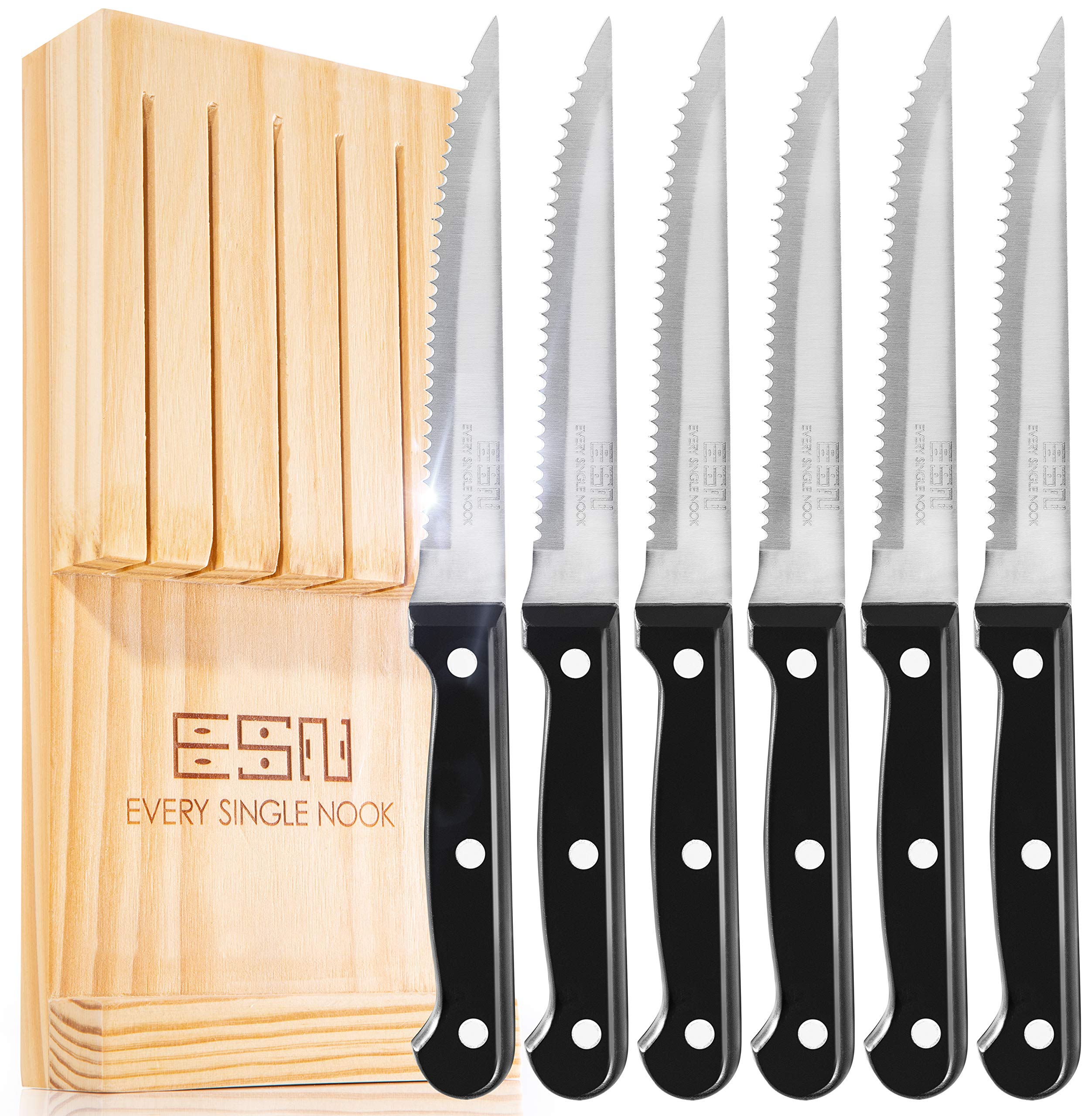 Every Single Nook Steak Knife Set of 6 Gift Box, Premium Smooth Serrated Dinner Knives for Great BBQ, Wedding and Family Dinner Gatherings, No Shapening Needed. Storage Block for Easy Storage.