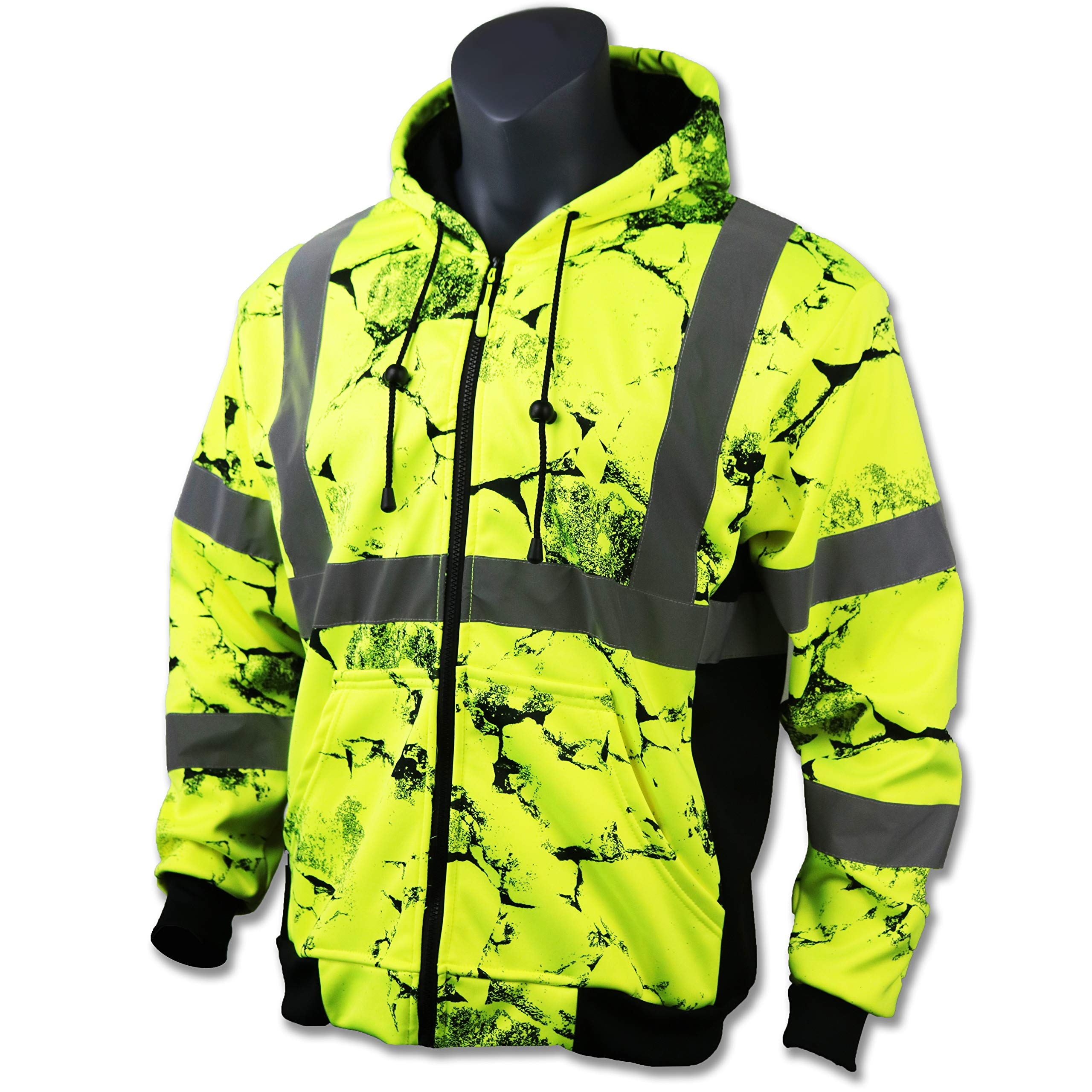 KwikSafety UNCLE WILLY'S WALL High Visibilty Reflective Anti Pill ANSI Class 3 Safety Jacket with Hoodie, Yellow, X-Large by KwikSafety (Image #1)