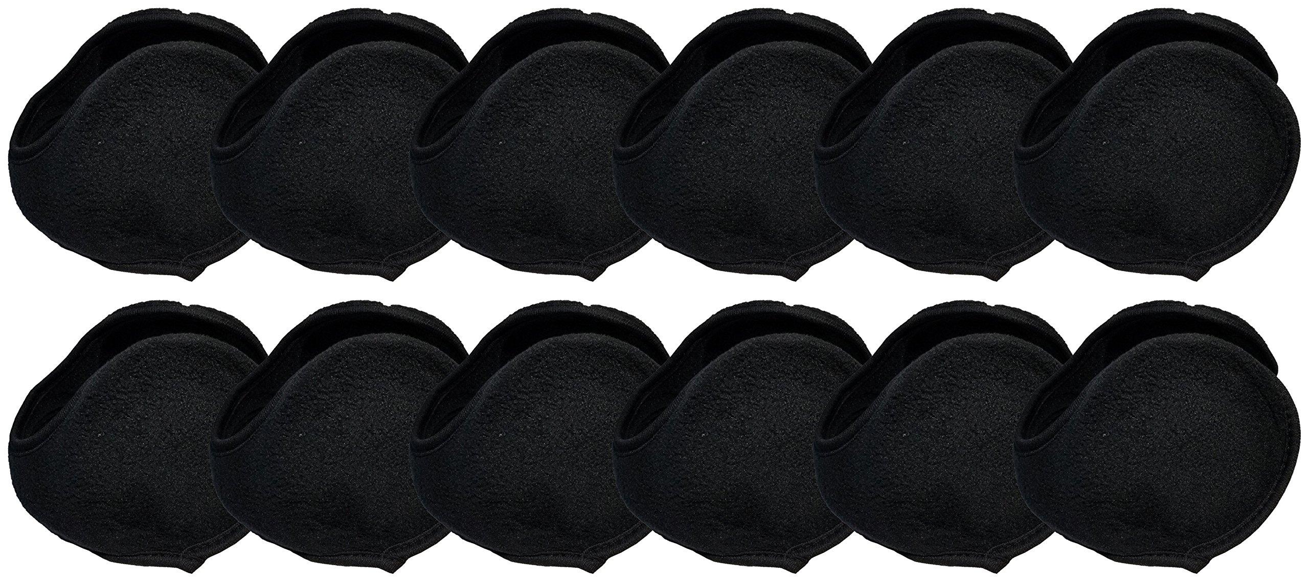 Winter Earmuffs, 12 Pack, Cozy Ear Warmers Colors Mens Womens Unisex Bulk Assorted Ear Muff (12 Pack - Black Ear Wrap)