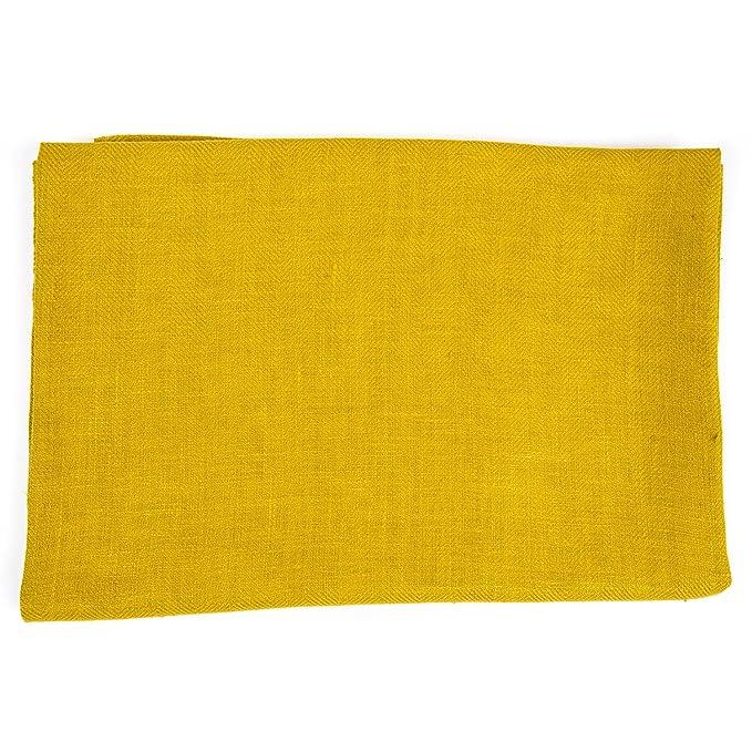 Toalla de baño Lara de lino, con vainica. Color amarillo y citrina. LinenMe 65 x 130 cm.: Amazon.es: Hogar
