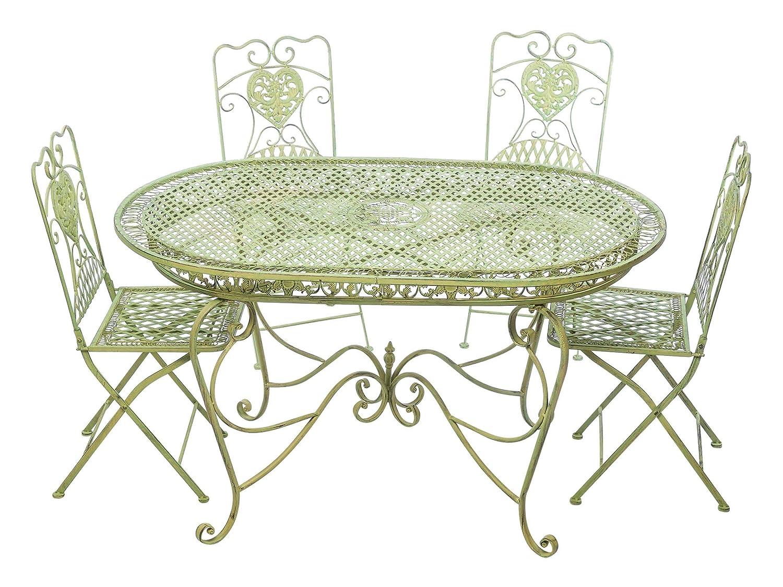 Garnitur Gartentisch 4 Stühle grün Eisen Gartenmöbel Stuhl Antikstil ...