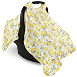 Hudson Baby Unisex Baby Muslin Car Seat Canopy, Lemons, One Size