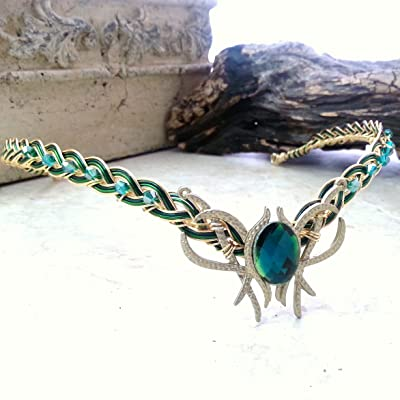 Green Oracle Gem Elven Circlet Tiara Crown Celtic Weave Gold or Silver