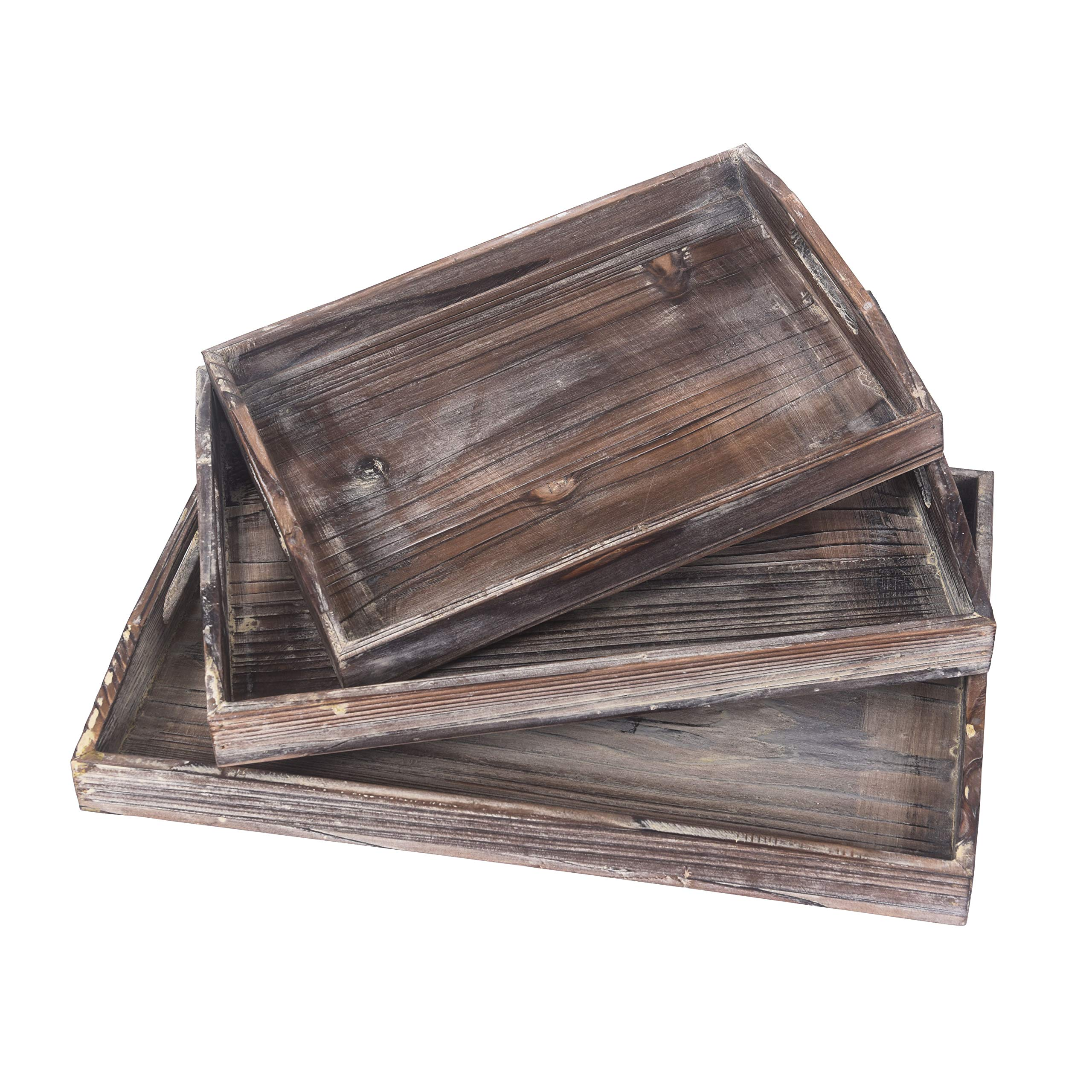 RHF Vintage Serving Tray,Rustic Wood Trays,Retro Tray Set,Nesting Serving Tray,Breakfast Trays,Ottoman Tray, Platter For Food Drink Eating Coffee, Brown, Set of 3