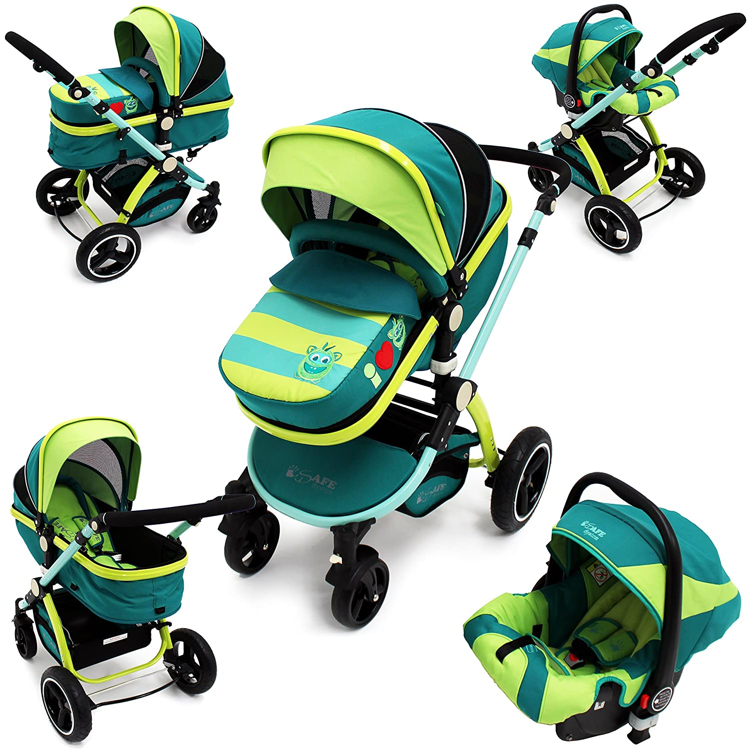 i-Safe System - Lil Friend Trio Travel System Pram & Luxury Stroller 3 in 1 Complete With Car Seat iSafe