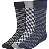 Creature Men's Cotton Calf Length Check Print Formal Socks Combo of 3(SCS-13.1)