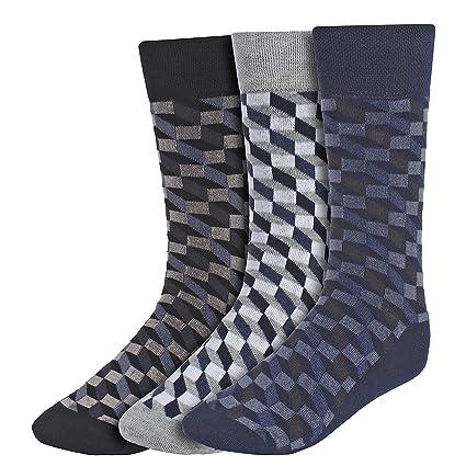 Creature Men's Cotton Calf Length Check Print Formal Socks Combo of 3(SCS-13.1)