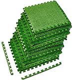Sorbus Grass Mat Interlocking Grass Tiles – Soft Artificial Carpet Grass Turf – Multipurpose Fake Grass Flooring – for…