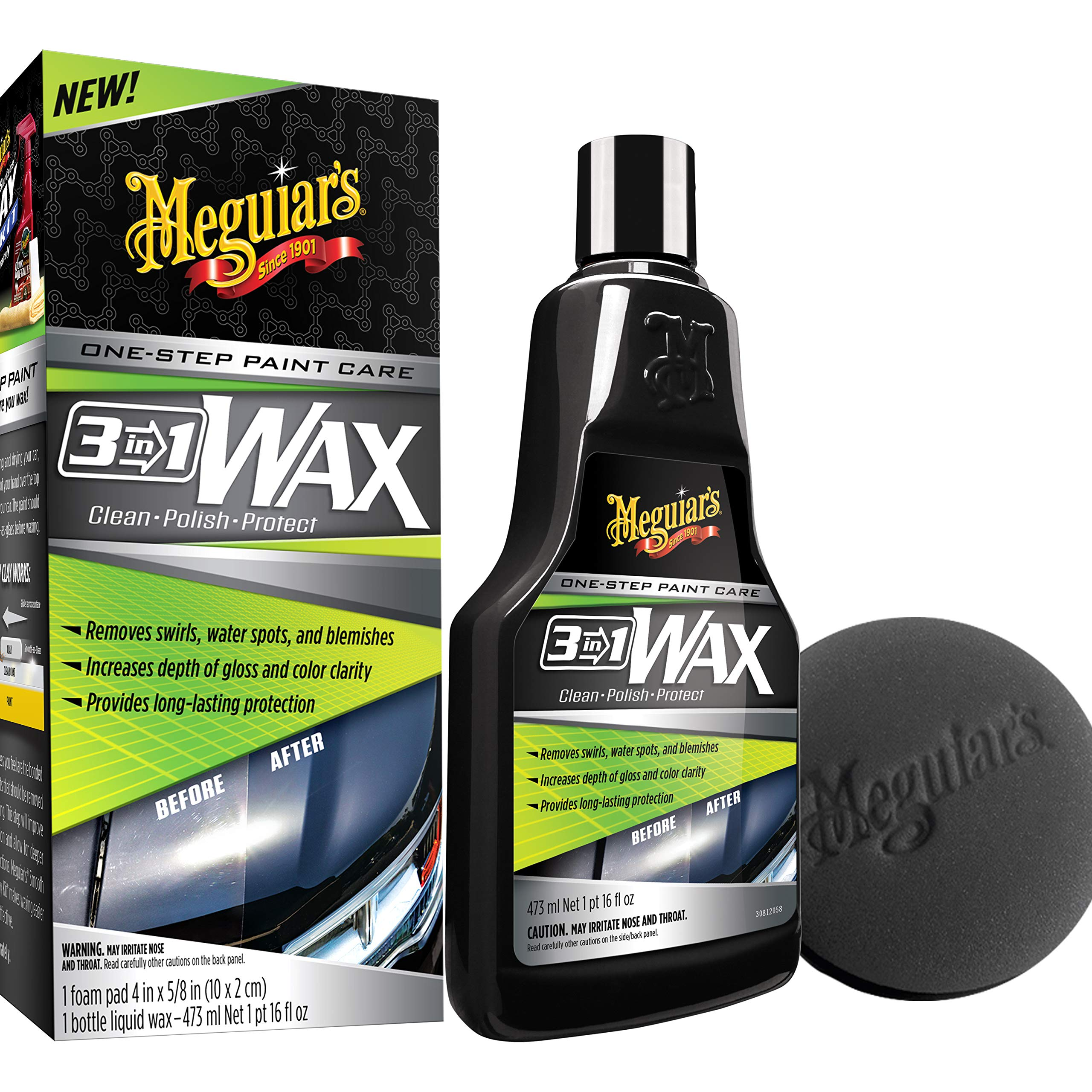Meguiar's G191016 3-in-1 Wax, 16 oz