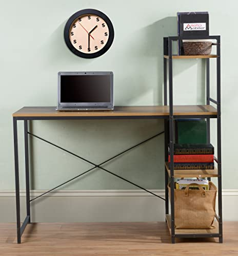 Homestar Desk with Bookcase, 47 x 23.6 x 47 , Natural Wood