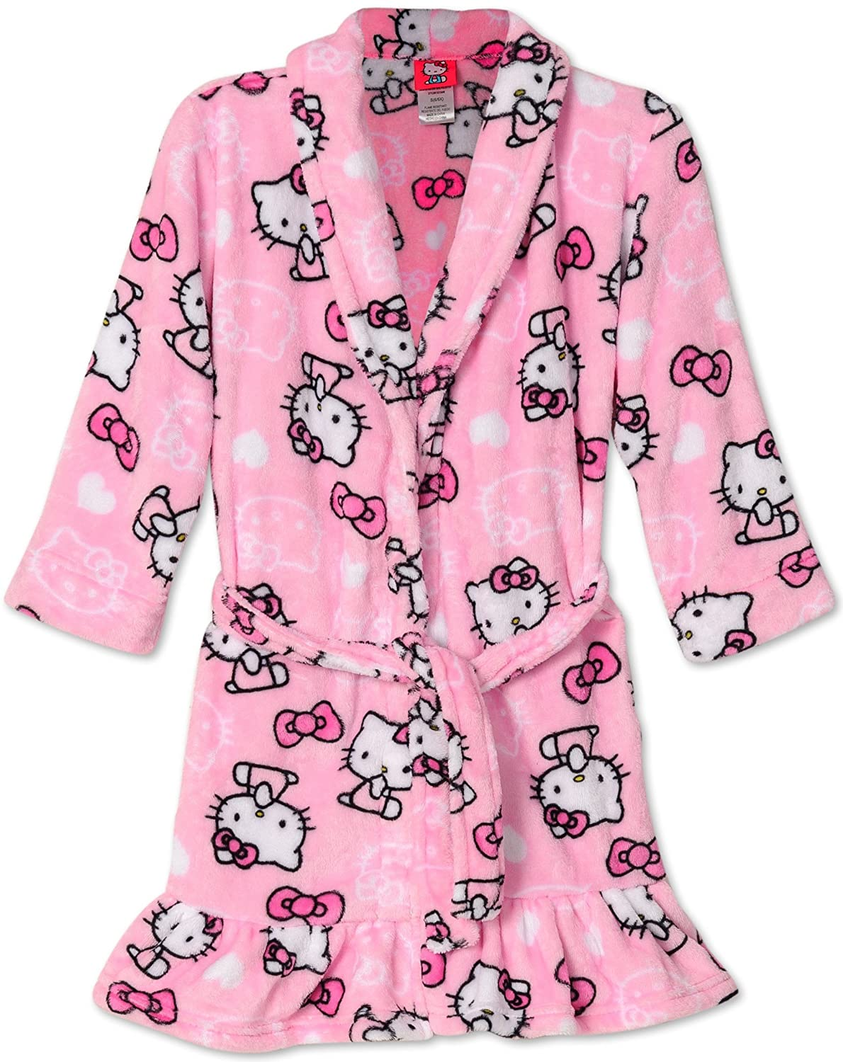 Hello Kitty Big Girls Pretty Kitty Pink Plush Fleece Robe Bathrobe
