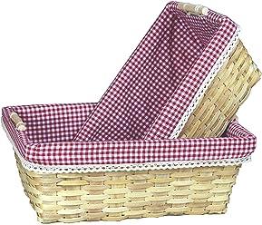 Vintiquewise(TM) Gingham Lined Baskets Set of 2