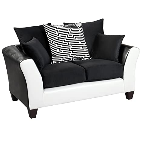 Flash Furniture Riverstone Implosion Black Velvet Loveseat with Black & White Frame