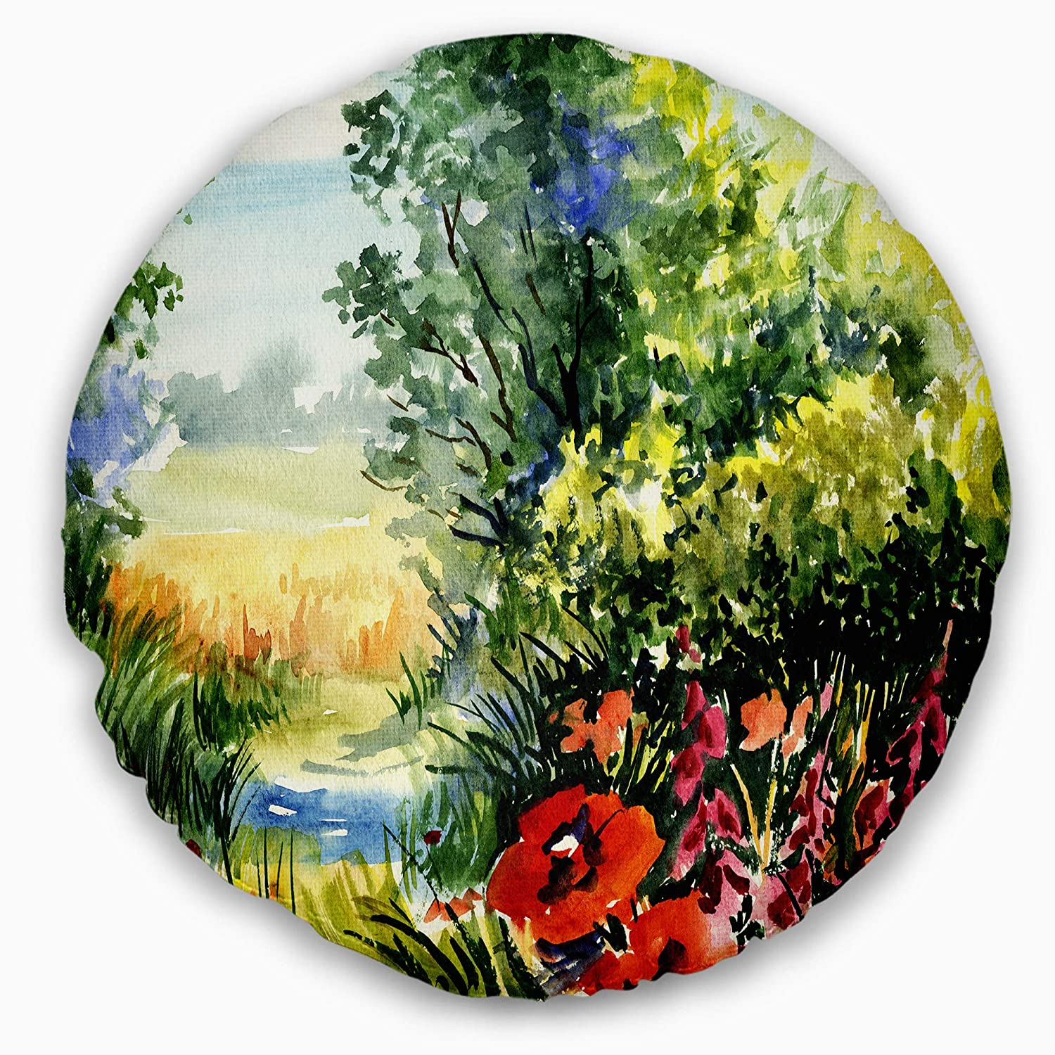 Insert Side Sofa Throw Pillow 16 Inches Designart CU6214-16-16-C Watercolor Flowers Landscape Printed Round Cushion Cover for Living Room