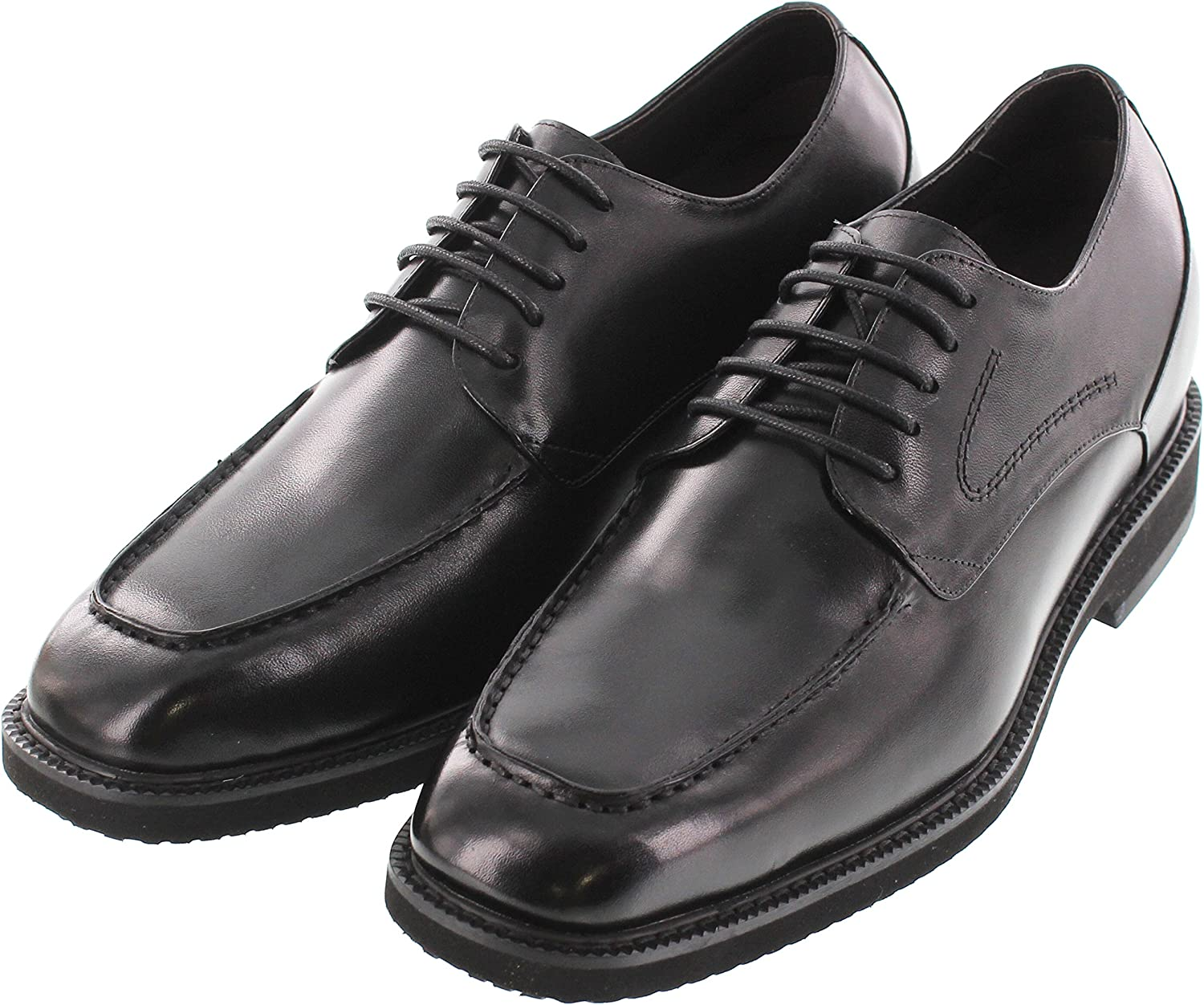 Black Leather Lace-up Formal Oxfords 2.8 Inches Taller TOTO Mens Invisible Height Increasing Elevator Shoes X67012