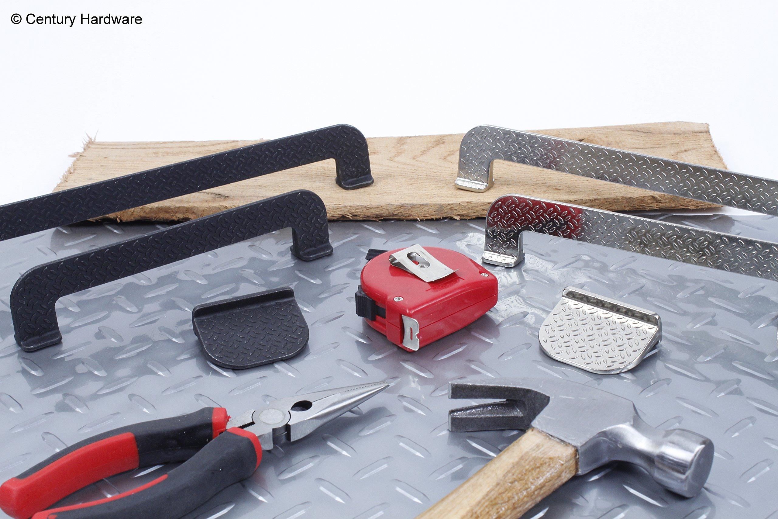 Century Hardware Diamond Plate Garage Workshop 256mm center to center drawer handle pull (10, Black Steel)
