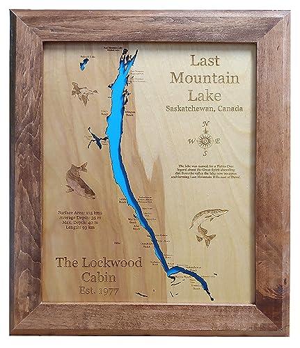 last mountain lake depth map Amazon Com Last Mountain Lake Saskatchewan Framed Wood Map Wall last mountain lake depth map