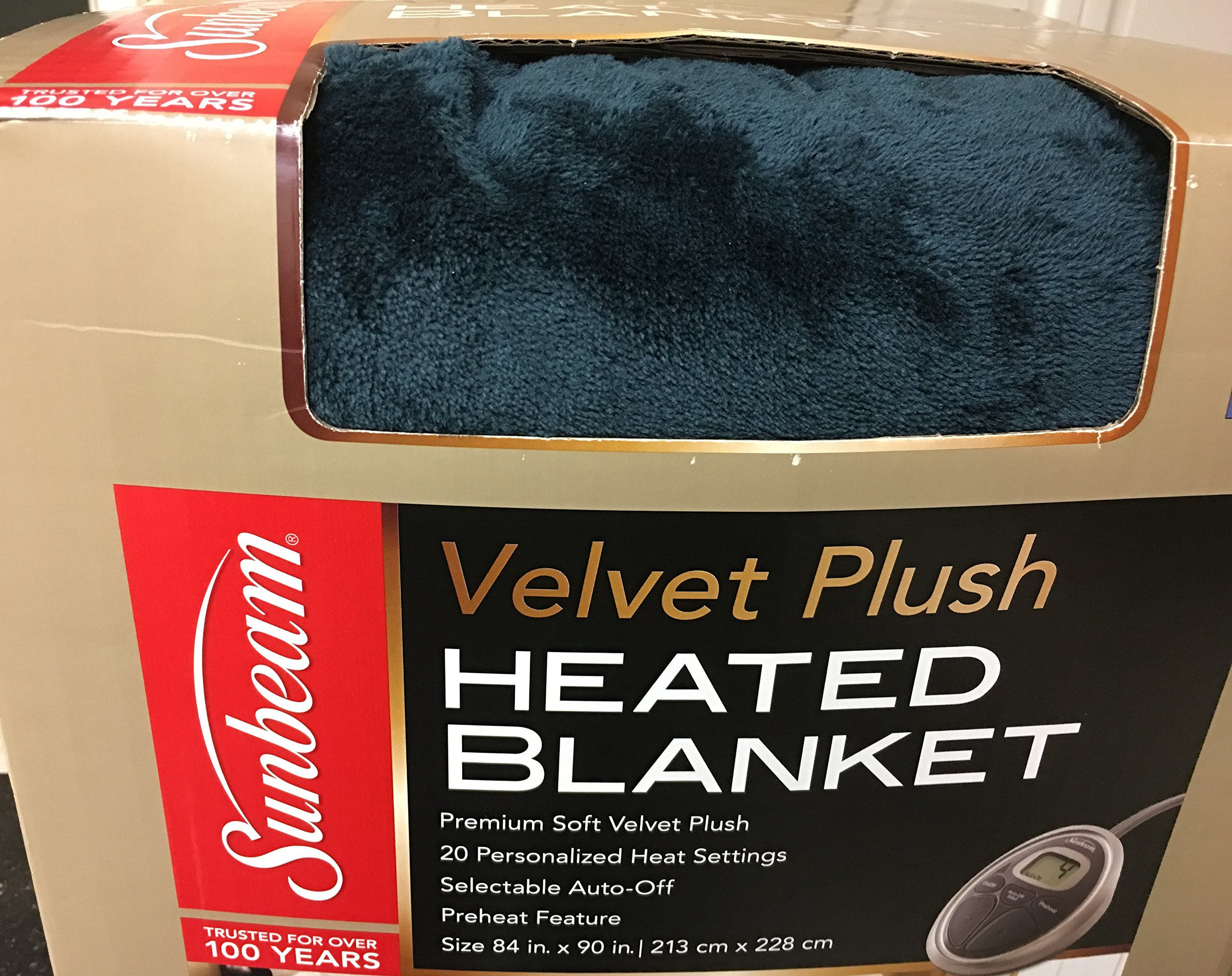 Sunbeam Luxurious Premium Plush Electric Heated Blanket, Auto Shut-off 20 Heat Settings Two Controllers, Queen Size, Deep Sea Blue