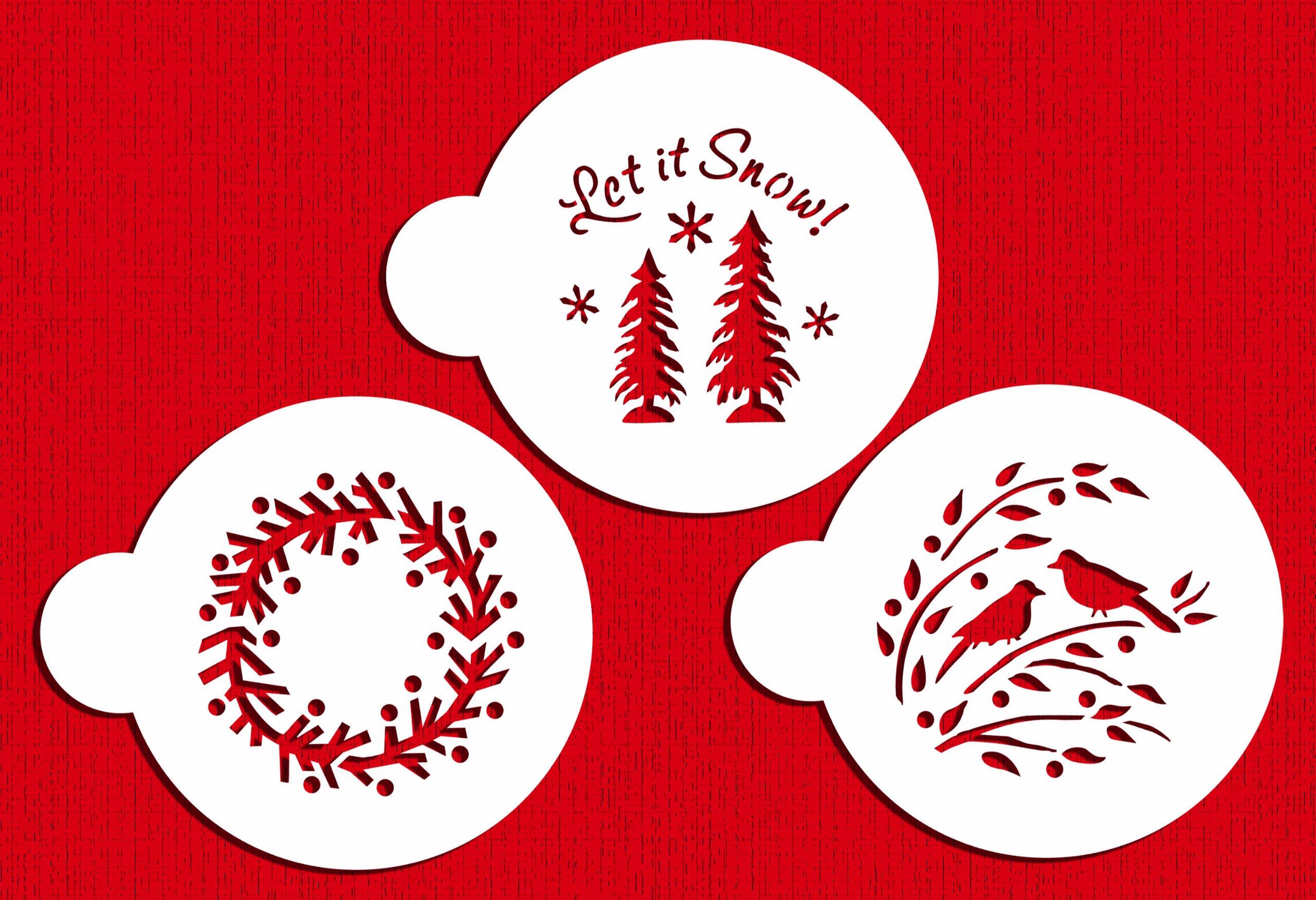 Designer Stencils C750 Let it Snow Cookie Stencils, (Wreath, Trees and Winter Lovebirds) Beige/semi-transparent