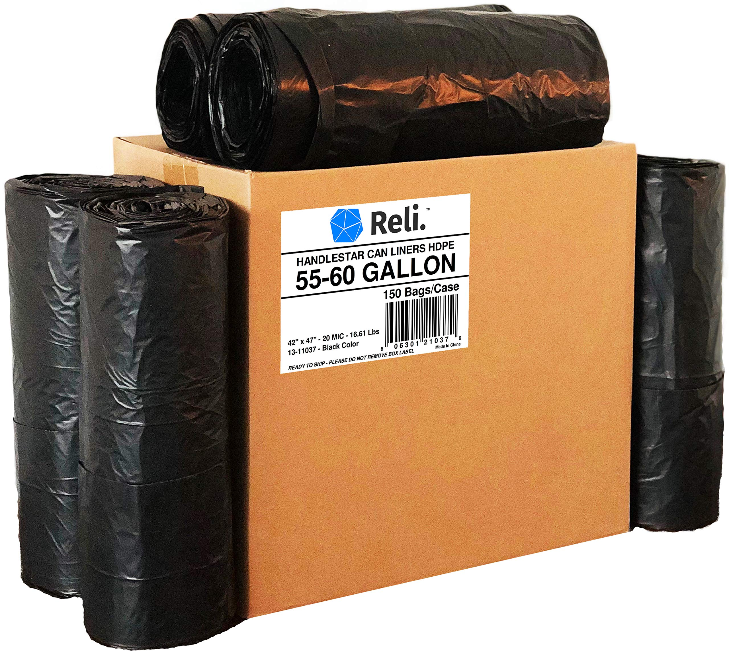 Reli. Trash Bags w/Handles (55-60 Gallon) (150 Count), Double-Ply HandleStar Garbage Bags (Black), Handle Tie Can Liners with 55 Gallon (55 Gal) to 60 Gallon (60 Gal) Capacity