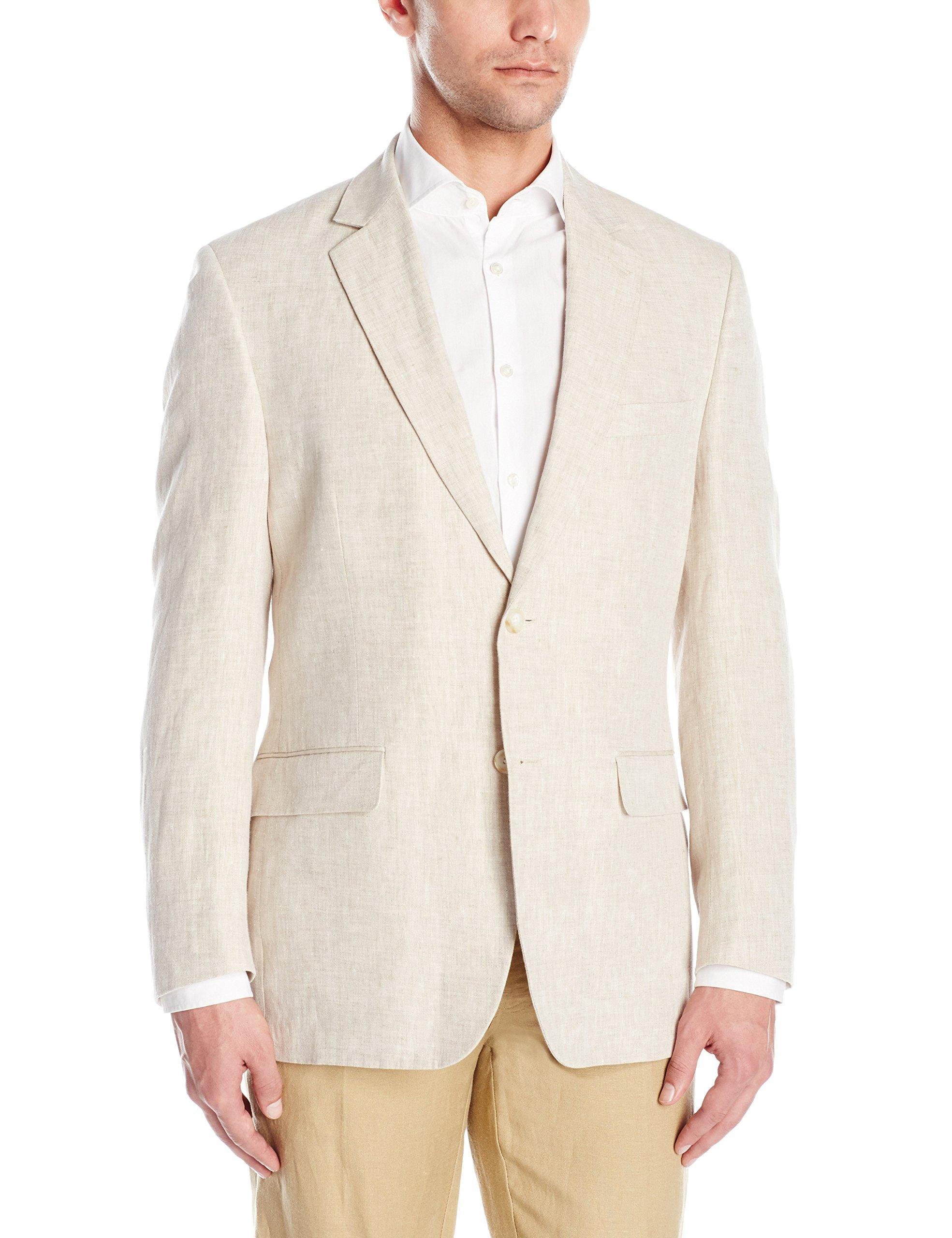 Palm Beach Men's Brock Suit Seprate Jacket, Natural Linen, 48 Long