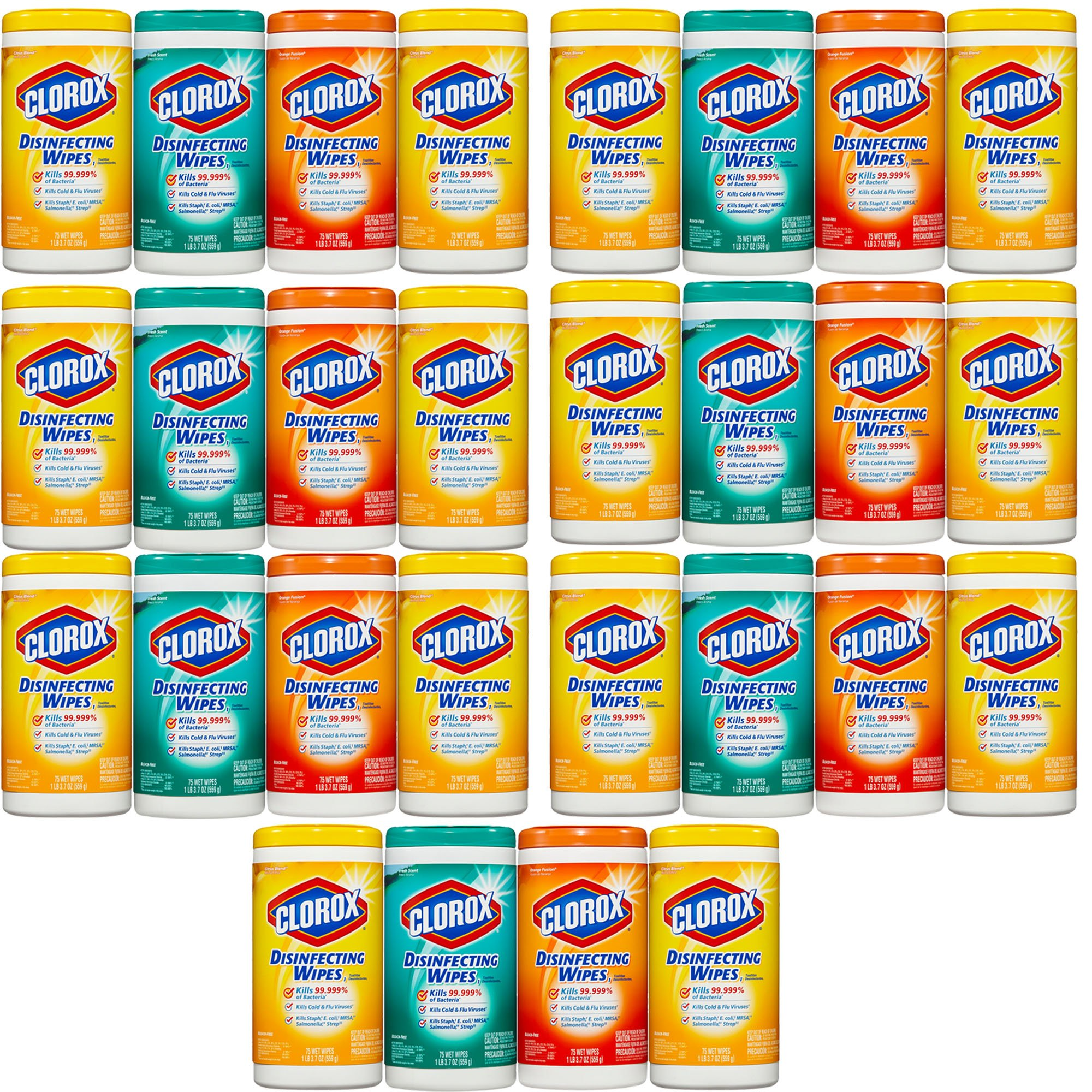 Clorox Disinfecting Cleaning Wipes Value Pack, Crisp Lemon Scent, Fresh Scent and Orange Fusion Scent, 75 Wipes each, 7-Pack (28ct)