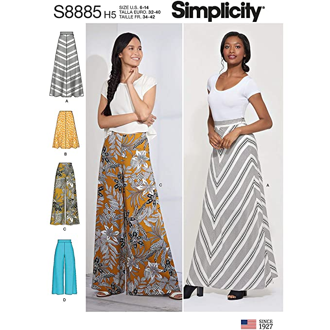 1960s – 70s Sewing Patterns- Dresses, Tops, Pants, Mens Simplicity S8885 / R10133 R5 Misses Skirts & Pants Sewing Pattern Misses Sizes: 14-22 $8.60 AT vintagedancer.com